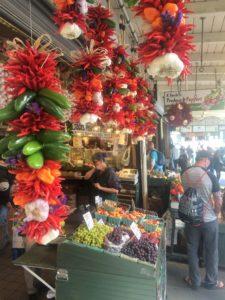 Peppers and garlic bushel at market