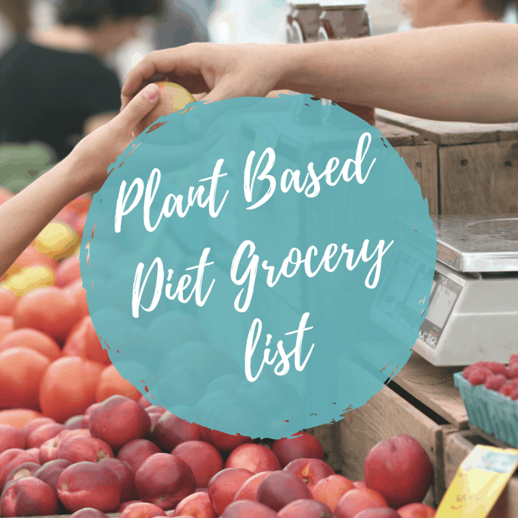 childs hand purchasing red fruit with plant baed diet grocery list icon