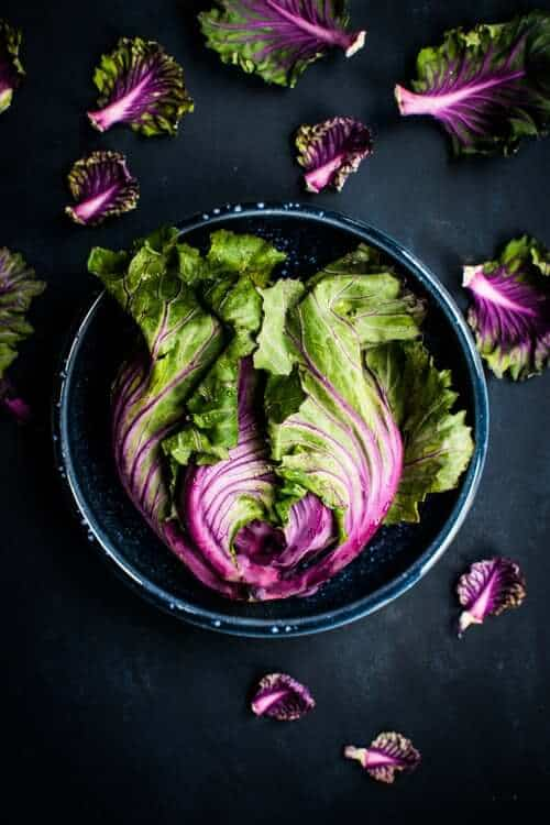 Purple and Green fresh cabbage in bowl preparing for no egg and veggie scramble