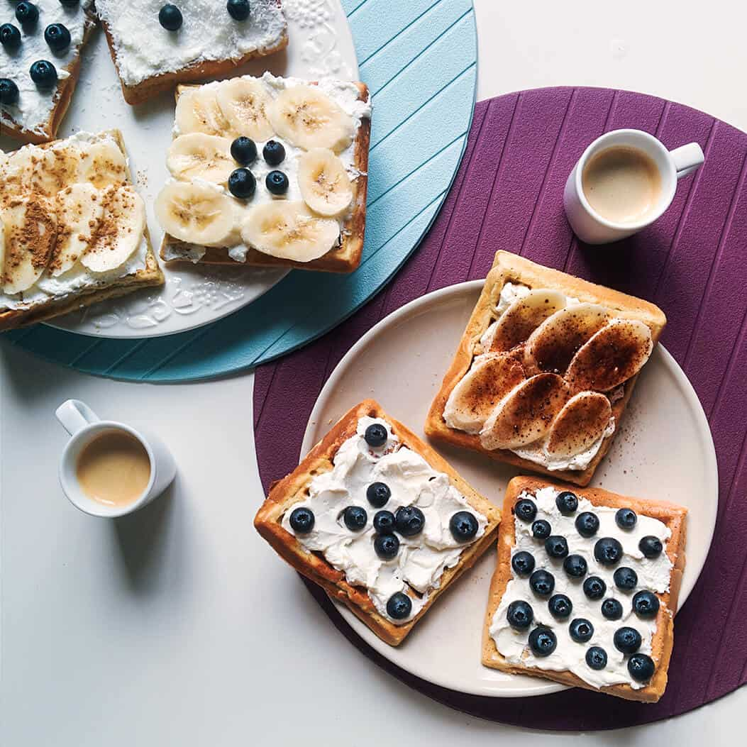 toast with fruit balanced plate