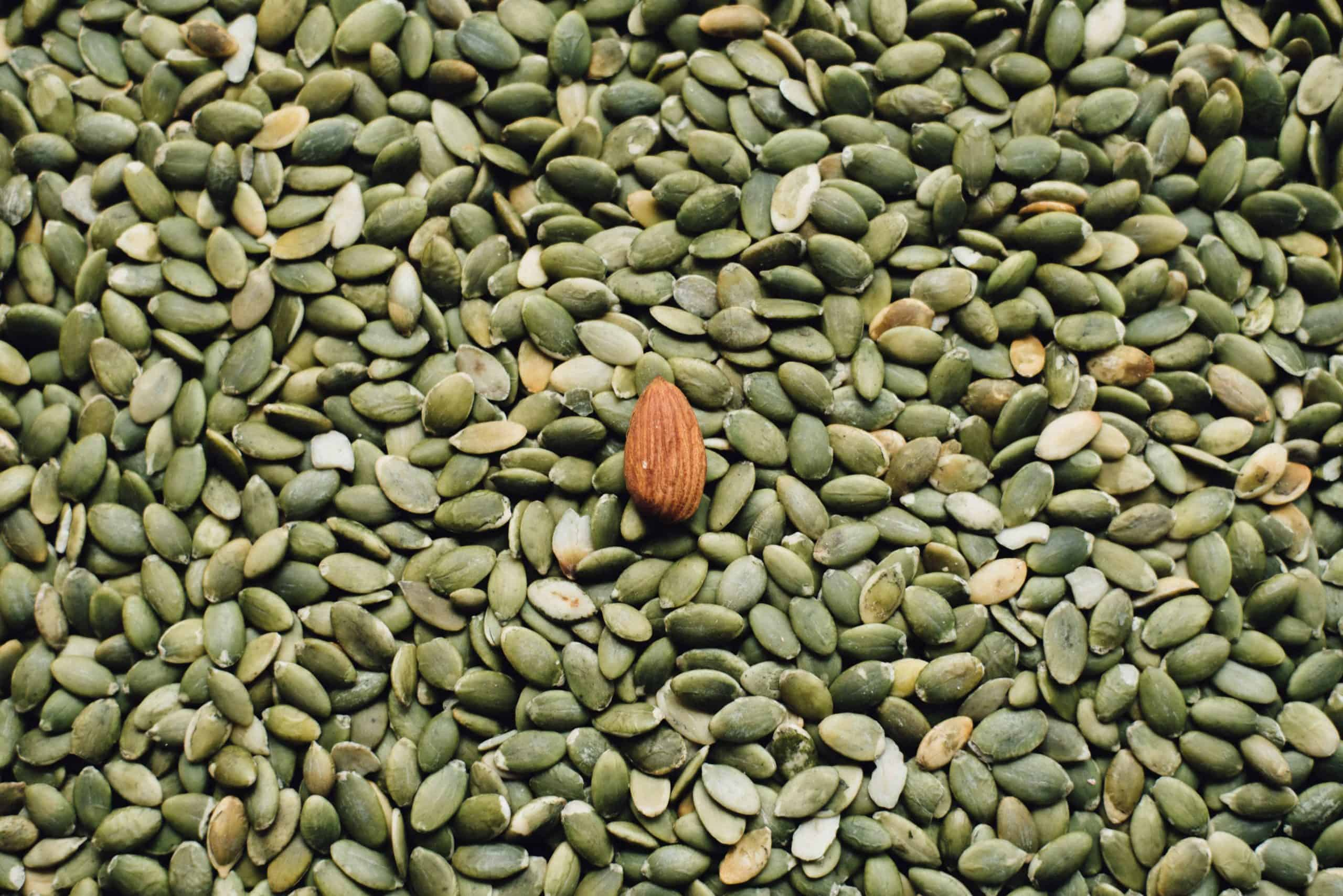 green seeds and almond