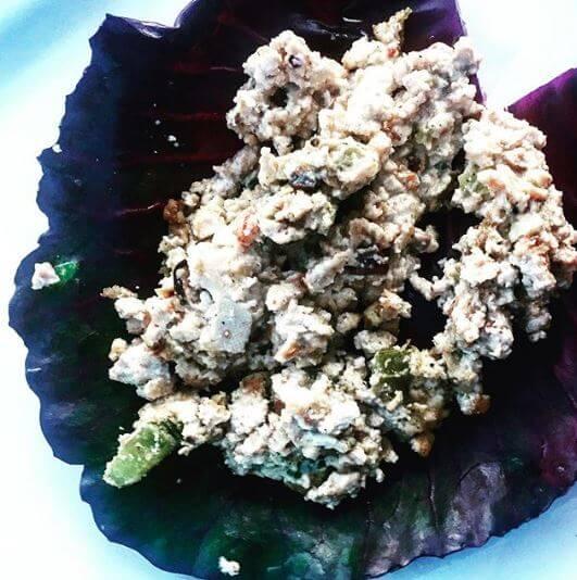 tofu filled cabbage leaf