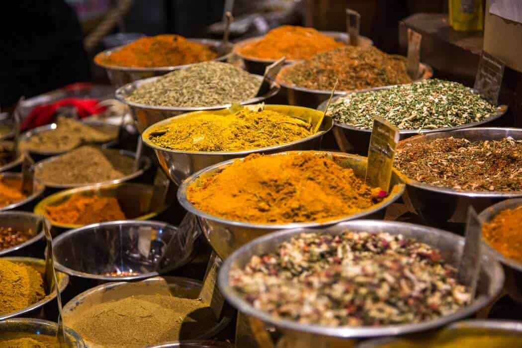 spices in tubs