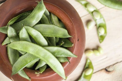 snap peas in a dish