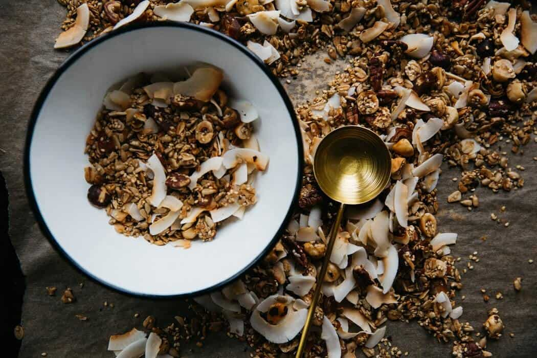 Cereal grains in white dish