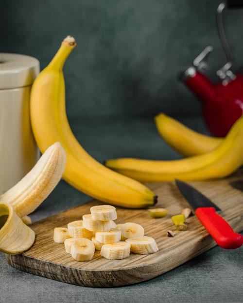 Banana slices on board
