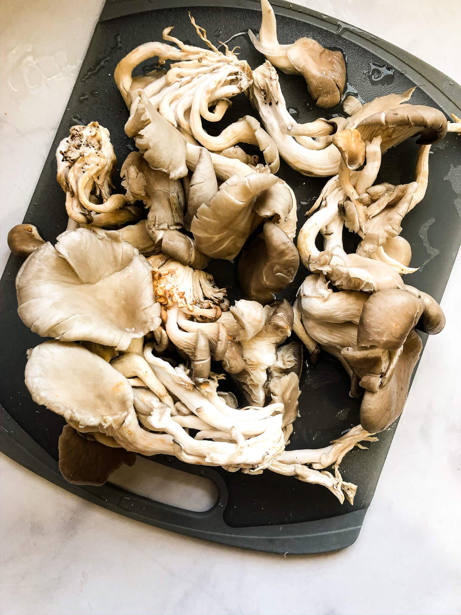 Oyster Mushrooms on Gray Cutting Board