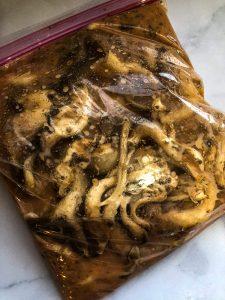 Oyster mushrooms in marinade