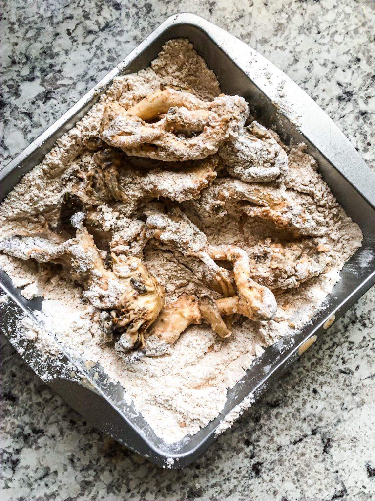 Mushrooms in flour