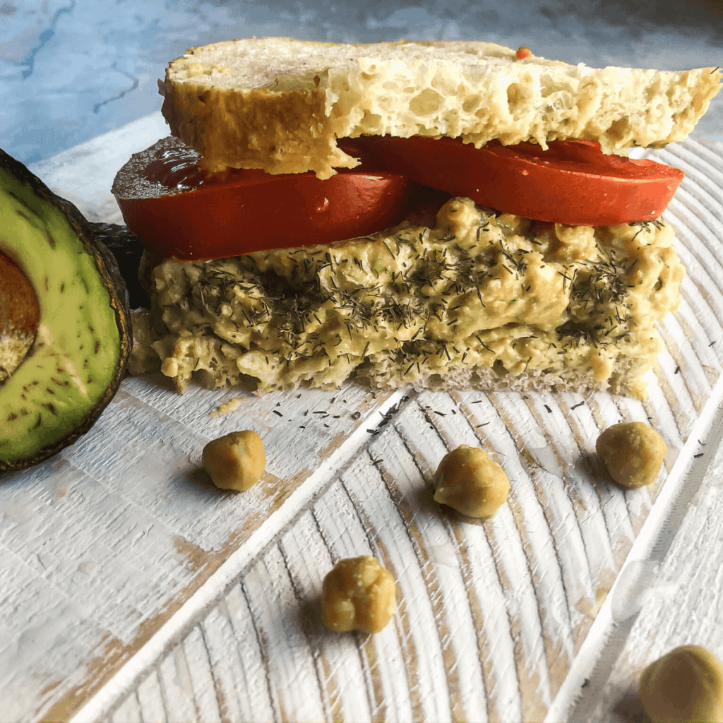 Sandwich, chickpea, and avocado