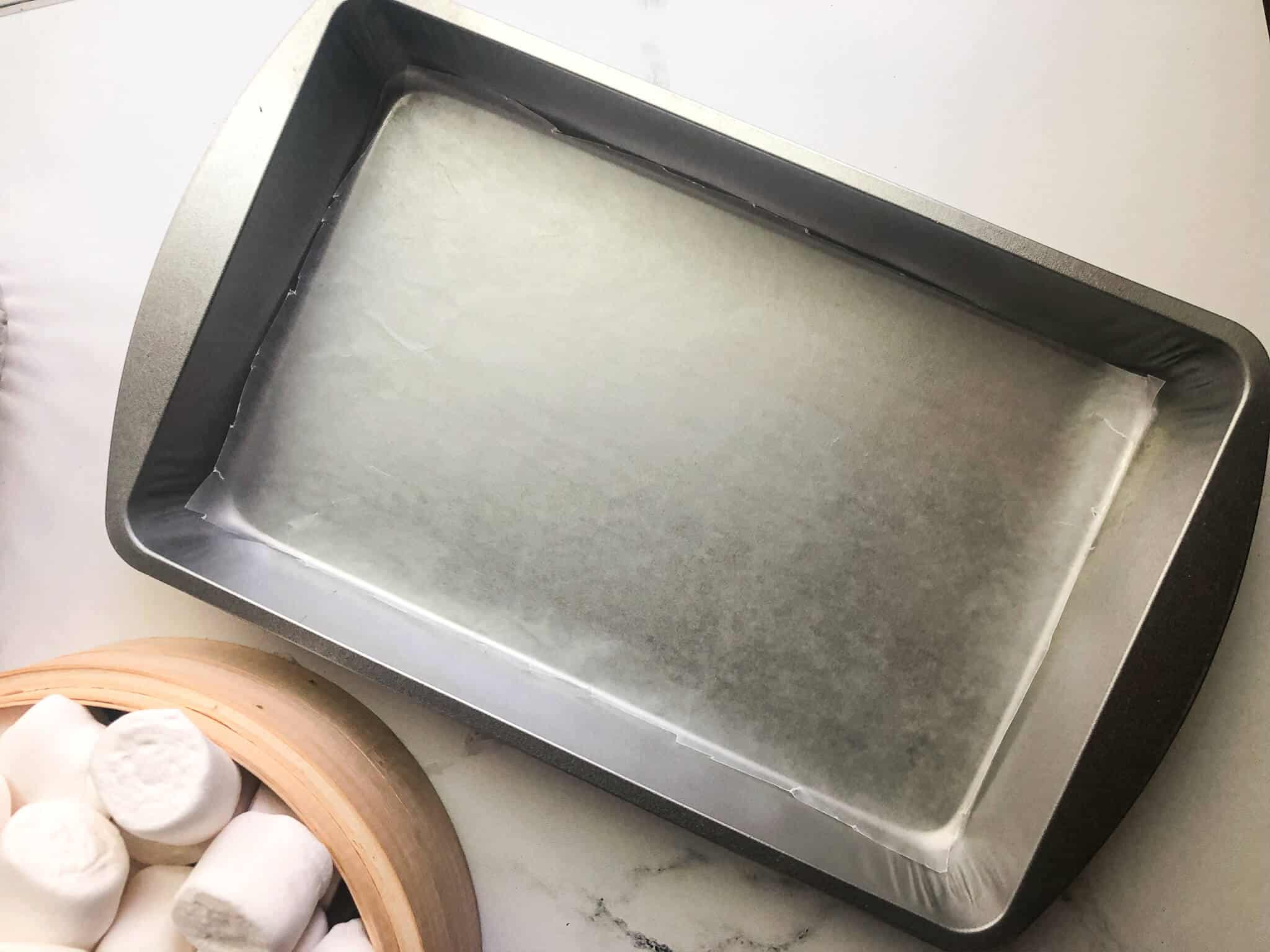metal pan and marshmallows