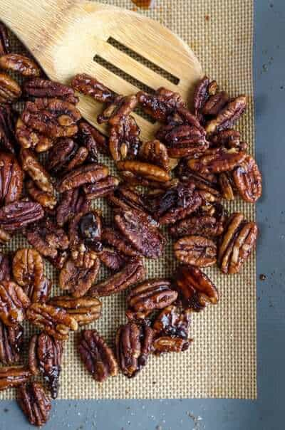 candied nuts and spatula