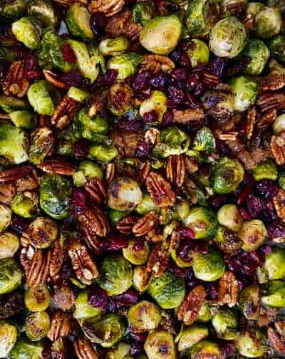 candied pecans and brussel sprouts