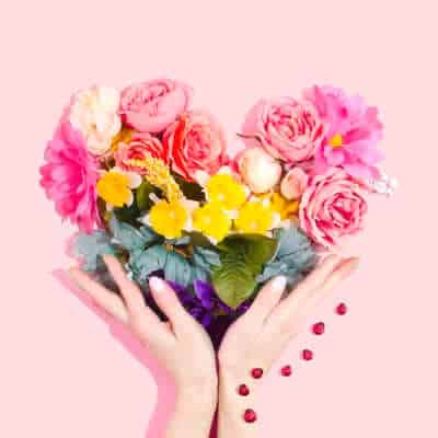 Hands holding heart of flowers