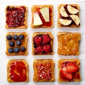 bread with spreads and fruit